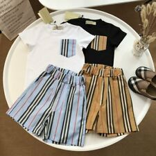 1 Set New Kids Boy Girls Classic Black Brown Strip Summer Shirt Top Tee & Pant