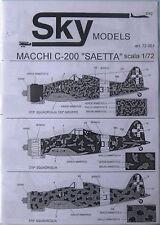 Skymodels 1/72 72061 MACCHI mc-200 seatta Decalcomania Set