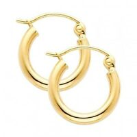 """14K Yellow Solid Gold 1/2"""" Hoop Hinged 2 mm Plain Polished Domed Round Earrings"""