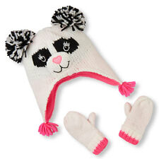 Toddler Girls Shimmery Panda Hat And Mittens Set size xs (6-12mos)