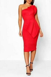 boohoo one shoulder dress UK 8 - 10  women's fold front ladies red midi