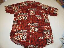 Mens Duke Kahanamoku Hawaiian shirt button up short sleeve M rayon reds EUC @