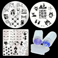 4pcs/set Cat Animal Nail Art Stamping Image Plates Stamper Scraper Kit Manicure