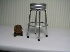 "Miniature Dollhouse Silver Retro Dining Stool 2 3/4"" H"