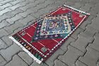 Vintage from 1950s, %100 wool handmade Turkish vintage rug   1,4 x 3,2 ft
