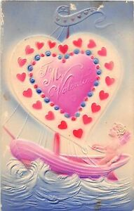 H66/ Valentine's Day Love Holiday Postcard c1910 Airbrush Sailboat Heart 27