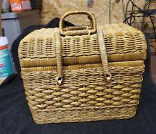 LARGE Wicker Picnic Basket w/ insert ~ Storage Basket for Crafts ~ Vintage cute