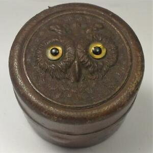 Antique Leather Clad Brass Travel Inkwell with Carved Owl Lid & Glass Bottle