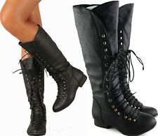 SIZE 7 BLACK KNEE HIGH COMBAT RIDDING LACE UP STRAP WOMAN BOOT LOW HEEL SHOE C39