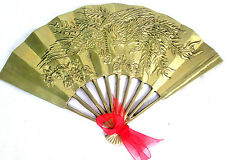 "Fan Art Wall Hanging Dragon & Floral Design Solid Brass 11.5""wide 7""tall"