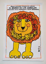 Cuban SILKSCREEN movie poster.Handmade art.Animal World.Zoo Lion.Children decor