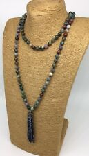 Fashion Long Knot Bloodstone Green Agate Crystal Tassel Necklace Handmade