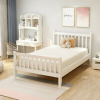 Twin size Wood Bed Frame W/Slats Support and Footboard Headboard  Platform Bed