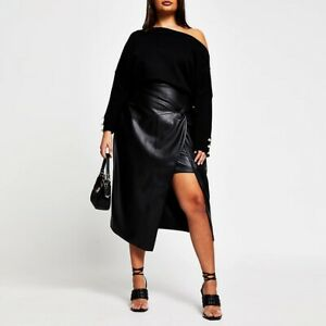 River Island Plus Black Twist PU Faux Leather Front Wrap Skirt UK Size 20