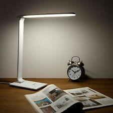 VonHaus White Folding LED Desk Lamp with USB Charger, Dimmer, Touch On Timer