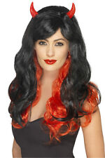 Smiffy's Adults Devil Wig With Horns New Womens Halloween Fancy Dress Accessory