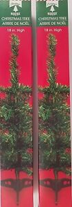 """Mini-Christmas Trees Table Top w Stands 18"""" 2 Trees/Pk, Select Green or White"""