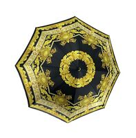 Authentic GIANNI VERSACE Vintage Folding Umbrella Accessories Black Gold Rank A