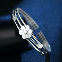 Women 925 Sterling Silver Solid Flower Wristband Bracelet Bangle Cuff Xmas Gift