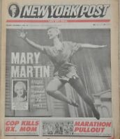 New York NY Post Screen Legend Mary Martin Dead/Dies at 76 1990 Newspaper