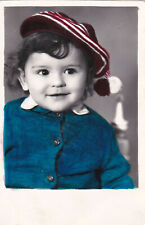 1980s Cute little baby girl in beret hat old hand tinted Russian Soviet photo