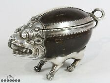 19th C. Burmese / Thai Silver & Coconut Mythical Beast Box / Casket + Provenance