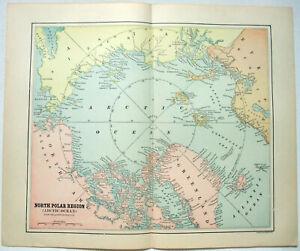 Original 1891 Map of The North Polar Region by Hunt & Eaton. Arctic. Antique