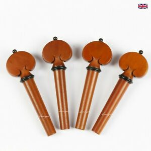 Boxwood Violin Peg Set Heart Model with Ebony Trim S2