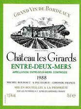 Ancienne Etiquette de vin-Bordeaux(1988)-Entre-2-Mers-Château les Girards-N°461