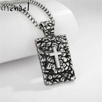 MENDEL Mens Womens Stainless Steel Dog Tag Cross Pendant Necklace For Men Women