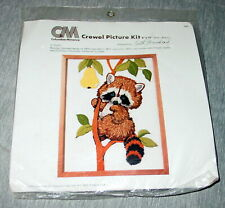 """New listing Crewel Picture Kit 9"""" x 12"""" Raccoon 7991 Columbia Minerva Usa made New"""