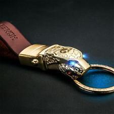 Golden Panthera Blue Led Eye Cowhide Leather Strap Car keychain keyring Superb