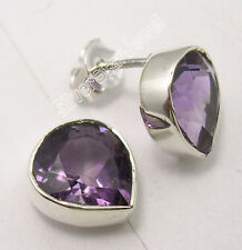 "925 SOLID Silver Authentic AMETHYST LOVELY HEART Studs Earrings 0.4"" NOUVEAU"