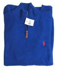 RL Polo Ralph Lauren Mens Pony Logo Mockneck Heavy Knit Cotton Half Zip Sweater