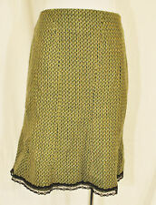 VTG 90s BoHo CHIC Green Wool Versatile Flare Knee Length A-Line Skirt Sz 8