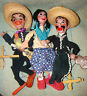 3 Mexican Marionettes String Folk Art Hand Puppets 2 Males 1 Female Mariachi