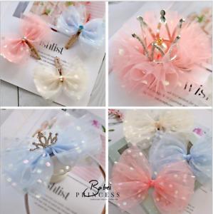 Baby Girls kids Ribbon Bow Princess Chiffon dot Crown Hair Clip Bows Toddler