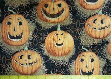 "Halloween Reflection Pumpkin on Black 100% cotton Fabric remnant 43"" X 34"""