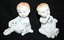 Vintage Bisque Handpainted Piano Babies - A Pair of Boys with Animals