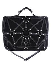 Black O-Ring Harness Satchel Hand Bag Purse Goth Briefcase Punk Alternative Emo