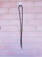 Vintage Western sterling 12 KGF Turquois Onyx Abalone Navajo leather bolo tie