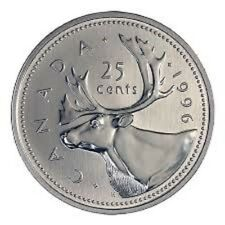 Canada 1996 25 cents Canadian Caribou Quarter Coin