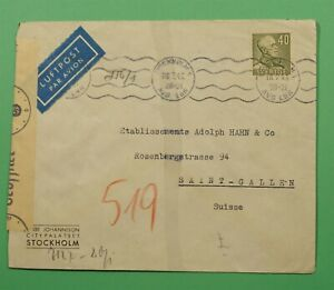 DR WHO 1943 SWEDEN STOCKHOLM AIRMAIL TO SWITZERLAND WWII CENSOR C241580