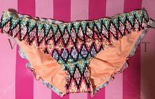 NWT Victorias Secret Swim The Ruffle Cheeky Warm Ikat Foil Bikini Bottom Small