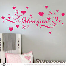 PERSONALISED NAME & HEARTS VINYL WALL STICKER FOR GIRLS DECAL