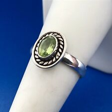Retro Sterling Silver 925 Oval Peridot August Anniversary Birthstone Ring