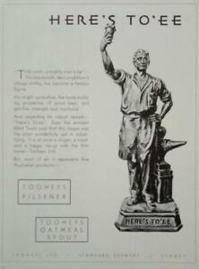 Vintage Australian 1935 TOOHEYS BEER ADVERTISEMENT. The Blacksmith- HERE'S TO'EE