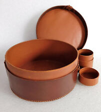 """Vintage leather collar box officers embossed V 7"""" good quality NEEDS REPAIR"""