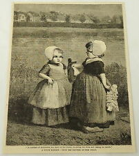 1887 magazine engraving ~ A DUTCH BARGAIN, Two Girls With Dolls