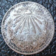 1918/17 MEXICO 1918 over 17-UN PESO-SILVER-Libertad-Lustre & Toned-KM#454 - RARE